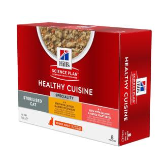 Hill's Science Plan Chat Young Adult Sterilised Mijotés Healthy Cuisine Poulet Saumon