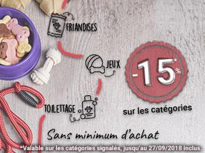 -15% sur les friandises, les jouets et le toilettage