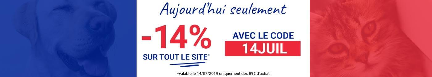-14% sur tout le site, dès 89€ d'achat,a vec le code 14JUIL