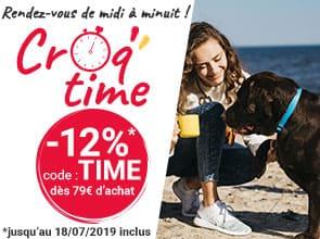 Entre midi et minuit : -12% sur tout le site avec le code TIME dès 79€ d'achat