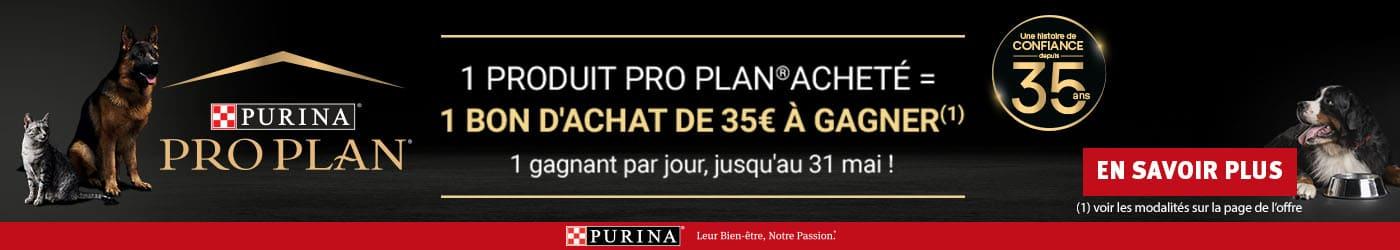 Remporter un bon d'achat de 35€ pour toute commande d'un produit PRO PLAN . 1 tirage au sort chaque jour. En savoir plus