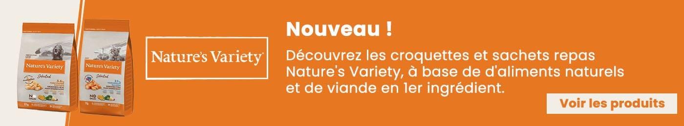 Nouveauté ! Découvrez les croquettes et sachets repas Nature's Variety, à base de d'aliments naturels et de viande en 1er ingrédient