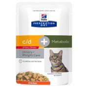 Sachets pour chat Hill's Prescription Diet Feline C/D Urinary Stress + Metabolic