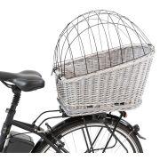 Panier de transport pour chien, à attacher au porte-bagages du vélo. Couleur gris