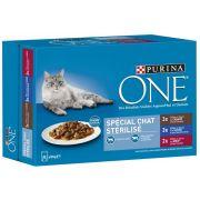 Effilés Purina One pour chat adulte stérilisé, goût sardine, canard et boeuf