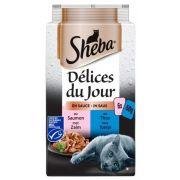 Sachets Sheba Délices du Jour pour chat, sauce au thon et au saumon